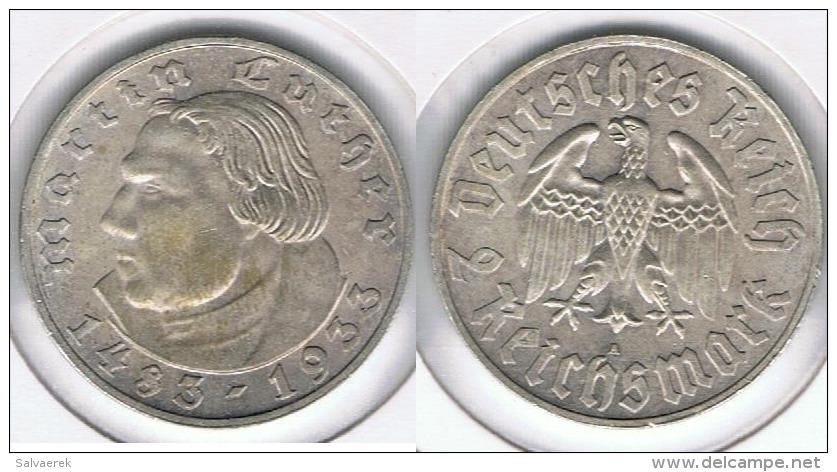 ALEMANIA  DEUTSCHES 2 REICHMARK A 1933 PLATA SILVER R - 2 Reichsmark