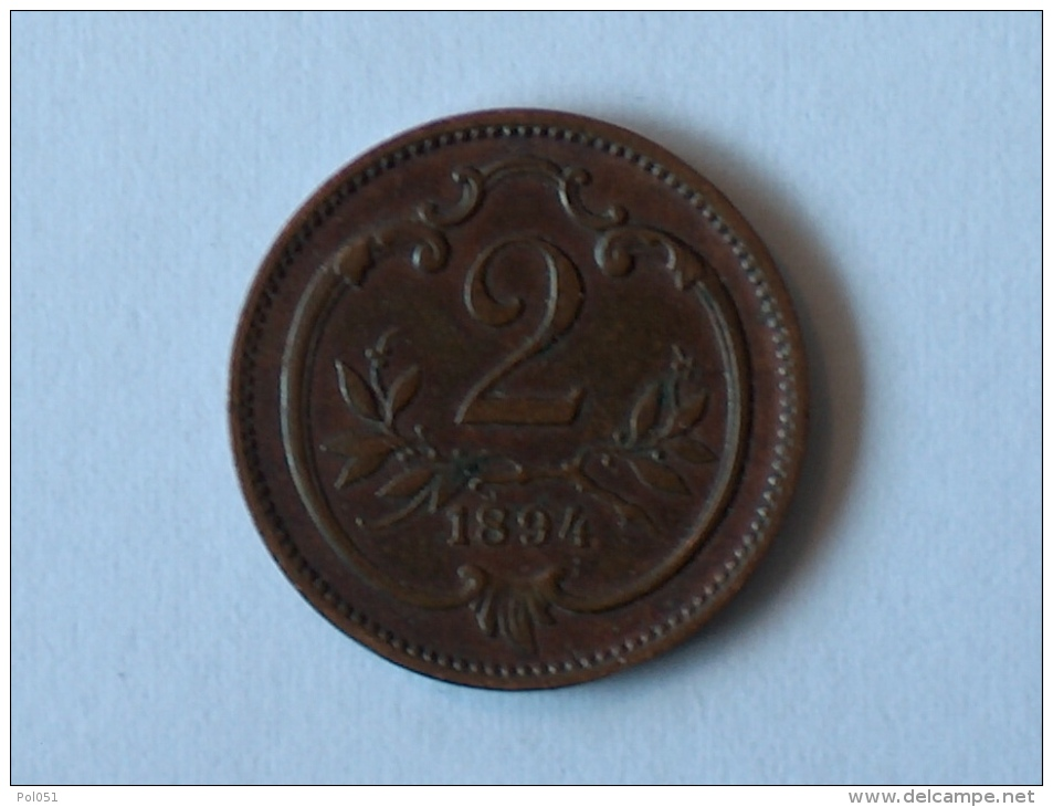 AUTRICHE 2 HELLER 1894 - Autriche