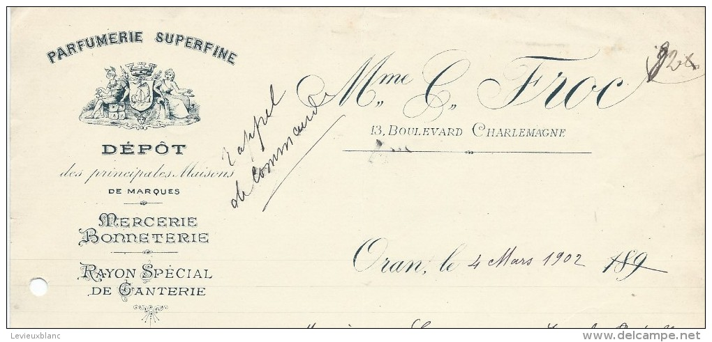 Commande De Peignes En Ivoire /ParfumerieMme Froc/ORAN/Algérie/Lecoeur/Ivry La Bataille/1902        FACTN110 - Droguerie & Parfumerie
