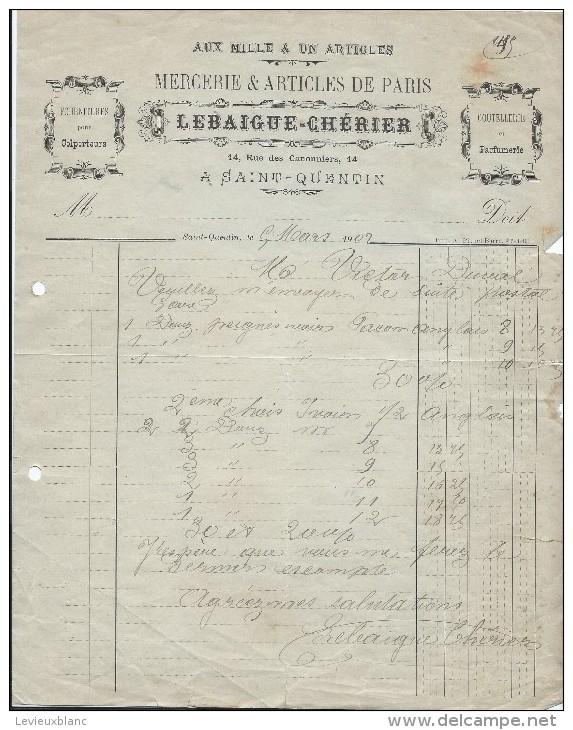 Commande  De Peignes En Ivoire /Mercerie/ Lebaigue-Chérier/SAINT QUENTIN/Aisne/V. Duval /Ivry La Bataille/1902  FACTN122 - Droguerie & Parfumerie