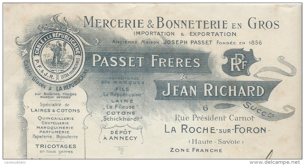 Commande  De Peignes En Ivoire / Passet &. Richard/La ROCHE Sur FORON/Haute  Savoie /Ivry La Bataille/1909  FACTN123 - Droguerie & Parfumerie