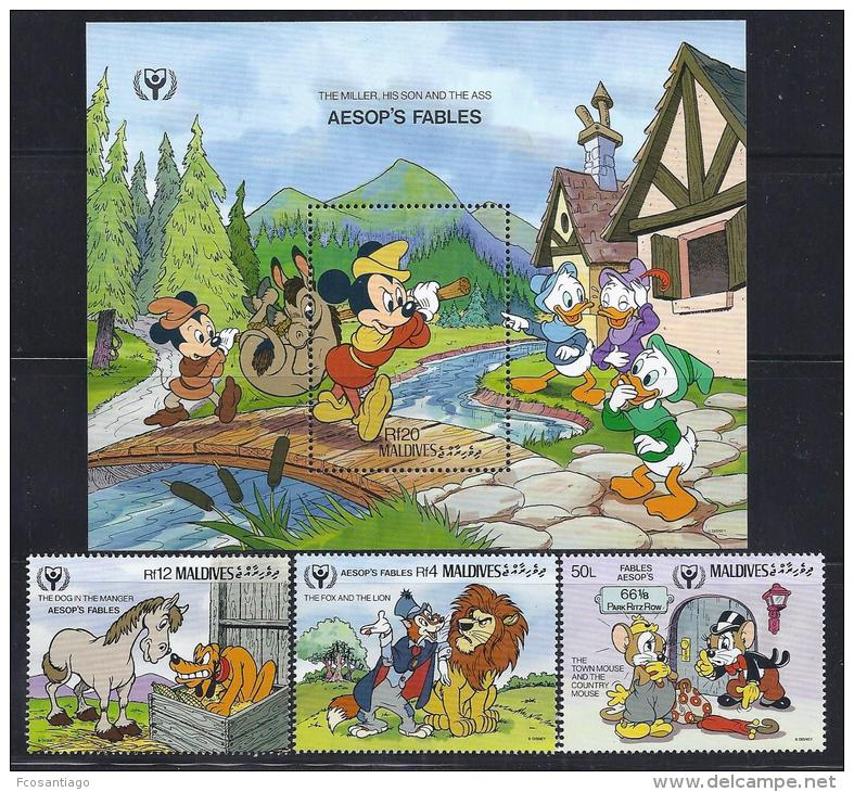 DISNEY - MALDIVAS 1990- Yvert#1293/96 H174 Precio Cat€15.50 - Disney