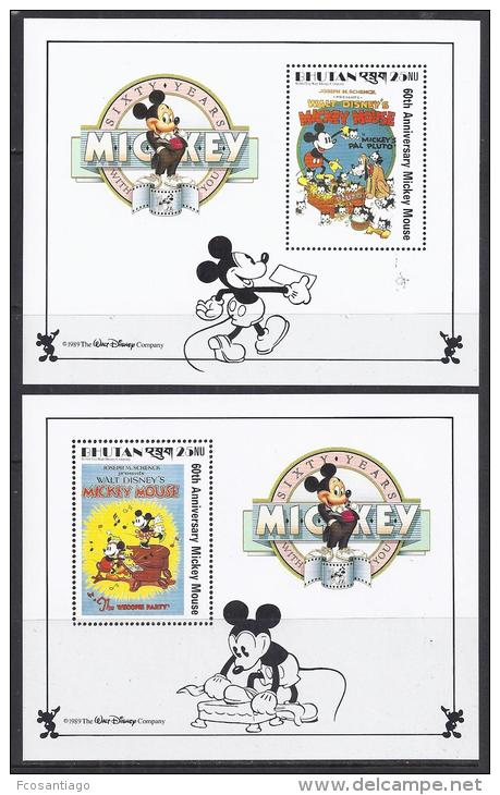 DISNEY -BHUTAN 1989-  Yvert# H169/70  Precio Cat€15 - Disney