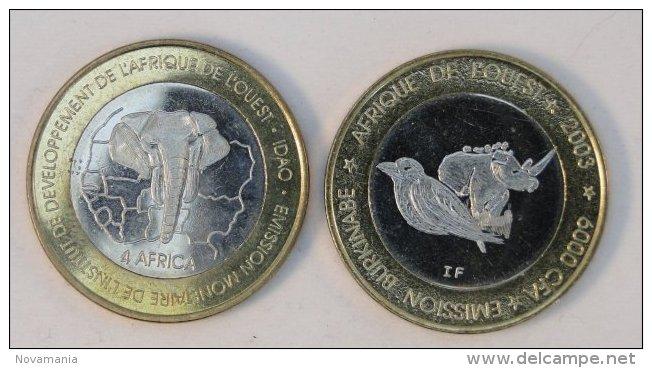 Burkina Faso 6000 CFA 2003 Rhinoceros Bimetal Animal - Burkina Faso