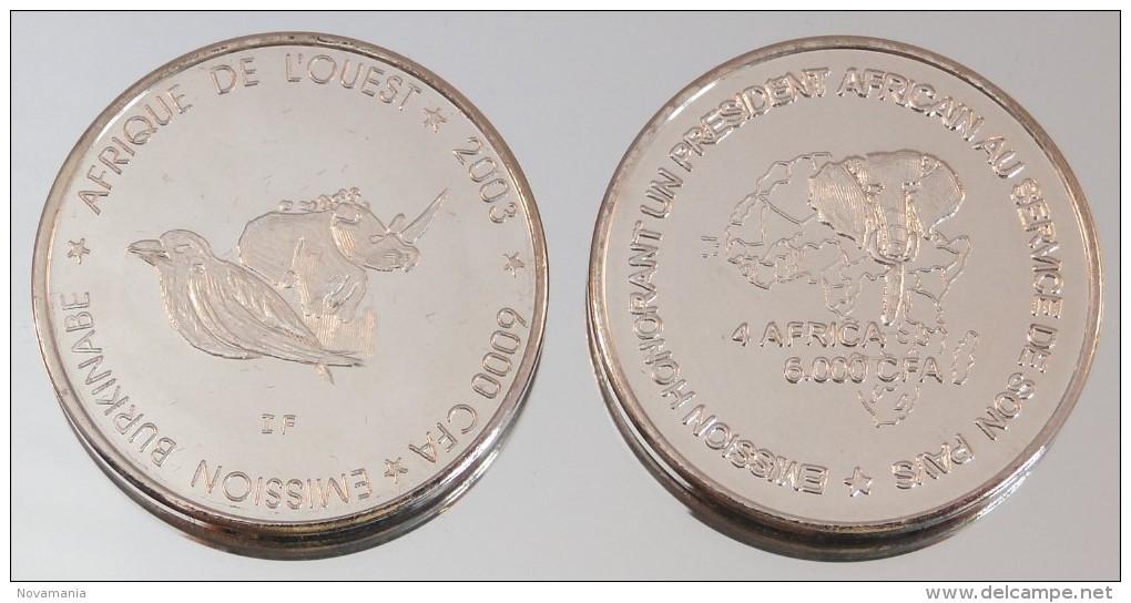 Burkina Faso 6000 CFA 2003 Rhinoceros VIP Argent Pur .999 Animal - Burkina Faso