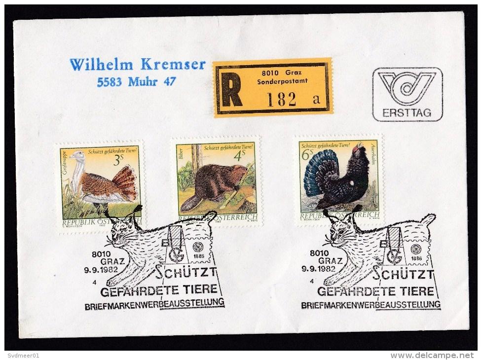 Austria: Registered Cover, First Day, Postmark Exhibition Endangered Animals, R-label Sonderpostamt Graz (traces Of Use) - 1945-.... 2ª República