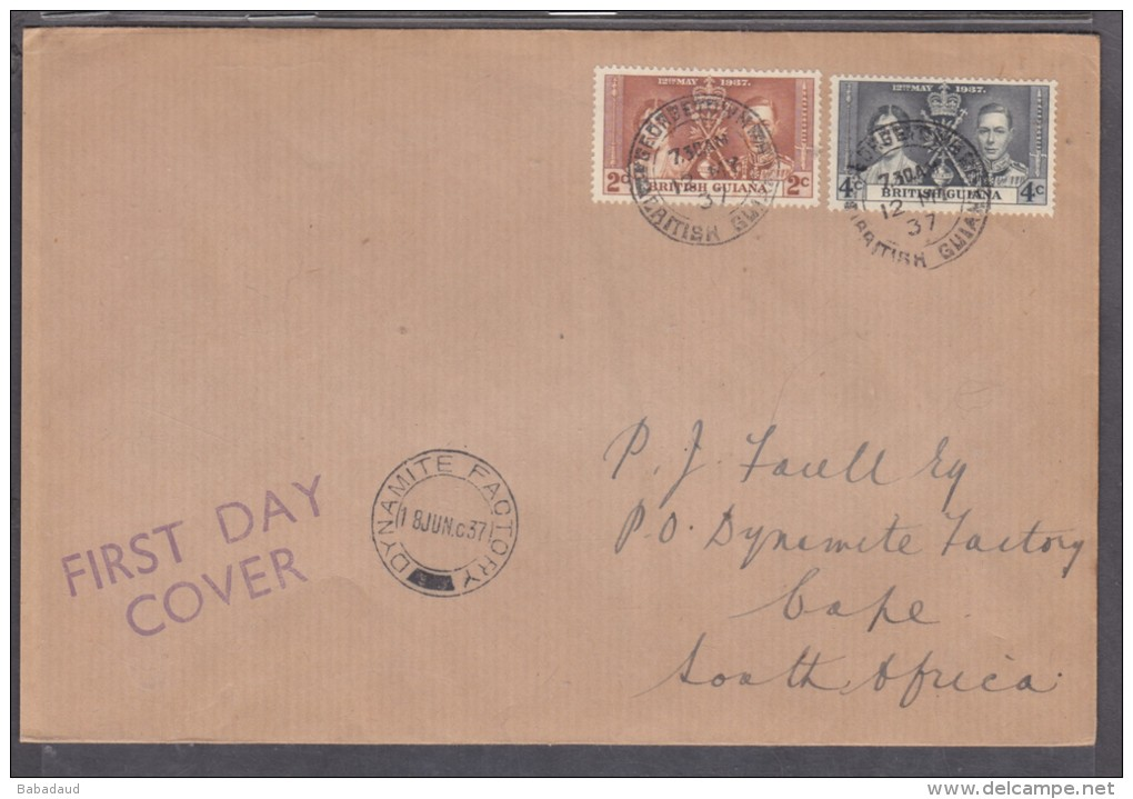 British Guiana: George VI Coronation, 1st Day Cover GEORGETOWN 12 MY 37 > S.Africa. DYNAMITE FACTORY 18 JUN 37, - Cyprus (...-1960)
