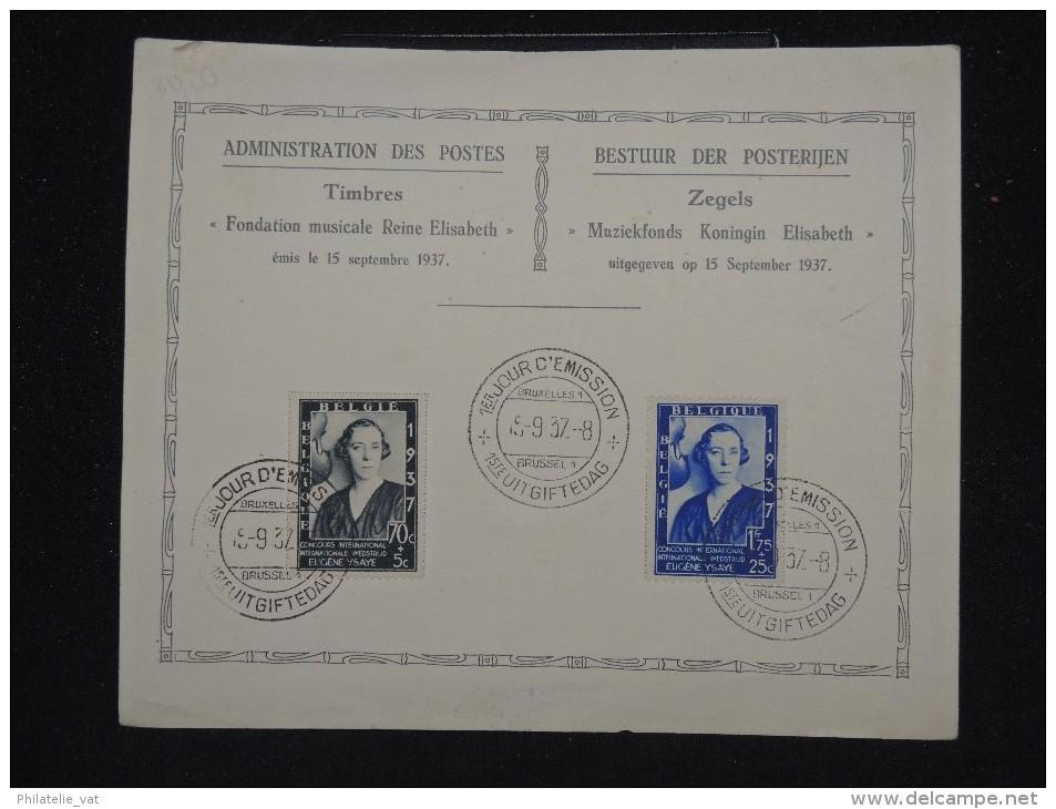 BELGIQUE - F.D.C.de La Fondation Musicale - Reine Elisabeth En 1937 - A Voir - Lot P11491 - ....-1951