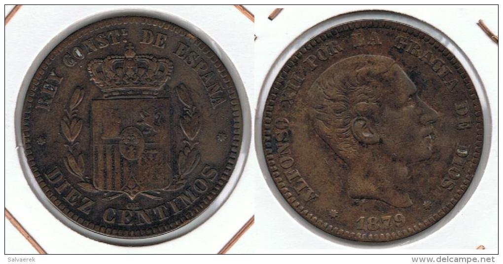 ESPAÑA ALFONSO XII 10 CENTIMOS PESETA BARCELONA 1879 Q - [ 1] …-1931 : Reino
