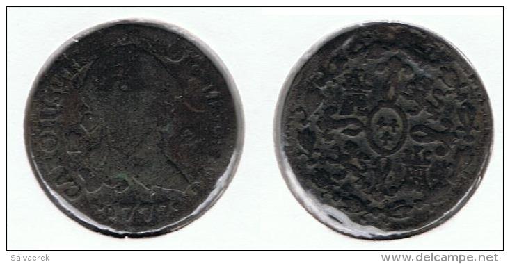 ESPAÑA CARLOS III 2 MARAVEDI SEGOVIA 1777 Q - [ 1] …-1931 : Reino