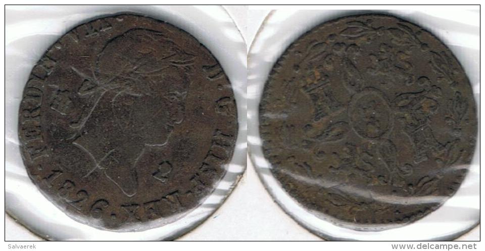 ESPAÑA FERNANDO VII 2  MARAVEDI SEGOVIA 1826 Q - [ 1] …-1931 : Reino