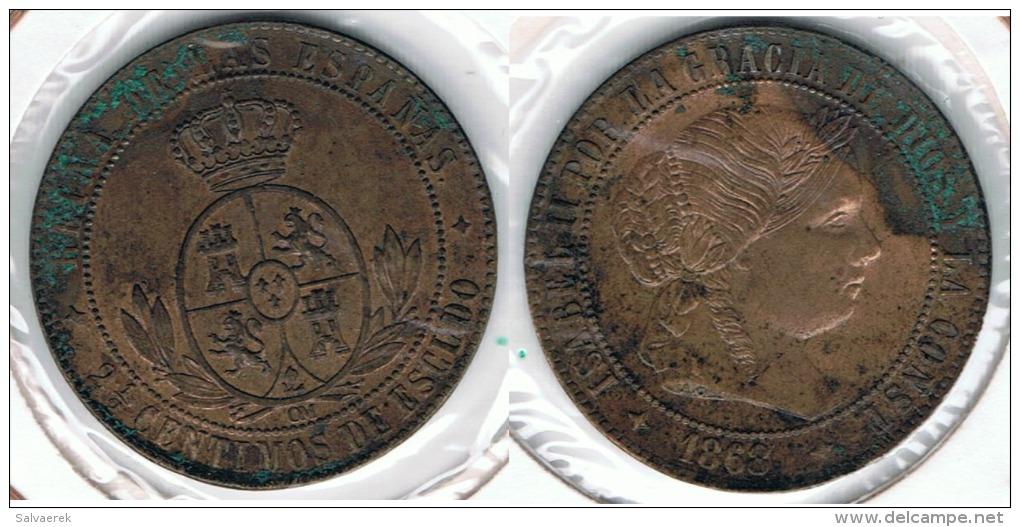 ESPAÑA ISABEL II 2 Y MEDIO CENTIMOS ESCUDO JUBIA 1868 Q - Colecciones