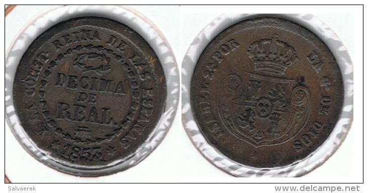 ESPAÑA ISABEL II DECIMA DE REAL SEGOVIA 1853 Q - Colecciones