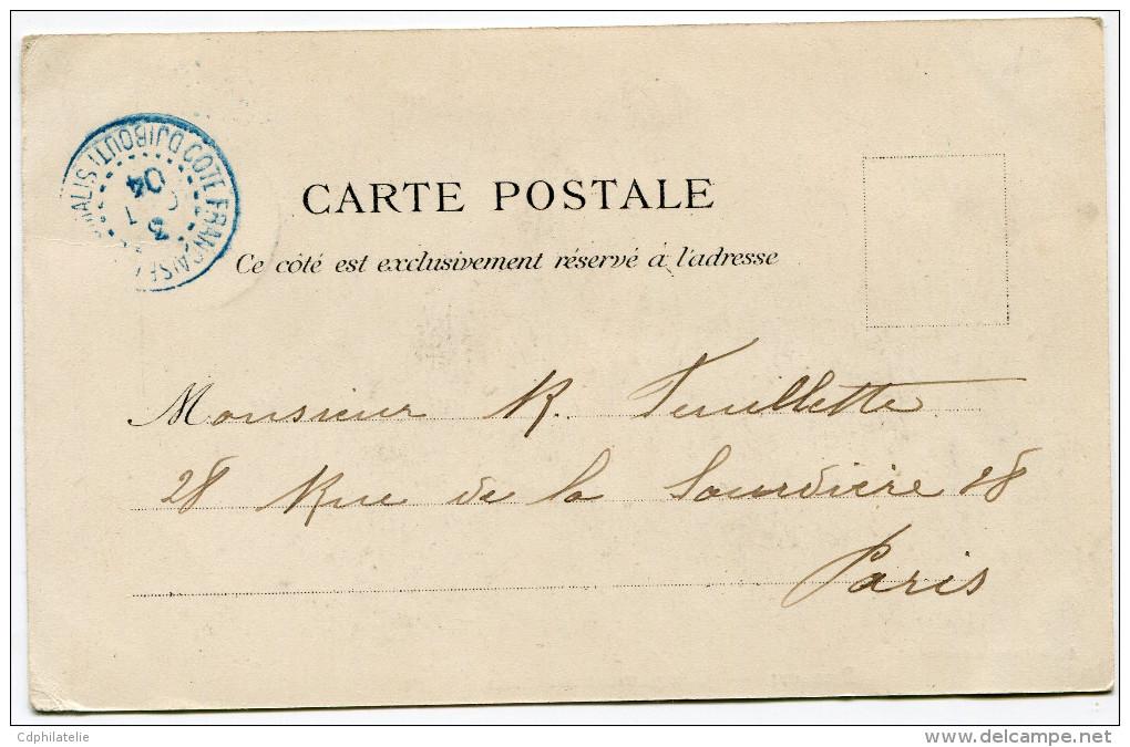COTE FRANCAISE DES SOMALIS CARTE POSTALE DEPART DJIBOUTI 3 OCT 04 POUR LA FRANCE - Lettres & Documents