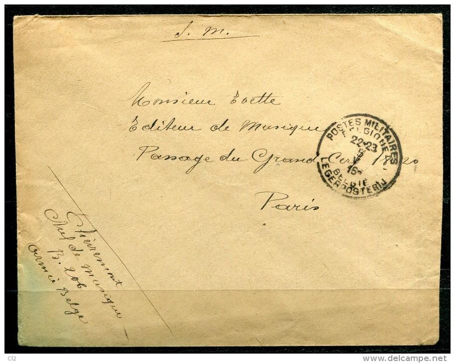 5-5-1915 - Courrier Du Chef De Musique - B.206  Pour Paris (voir Description) - Guerra '14-'18