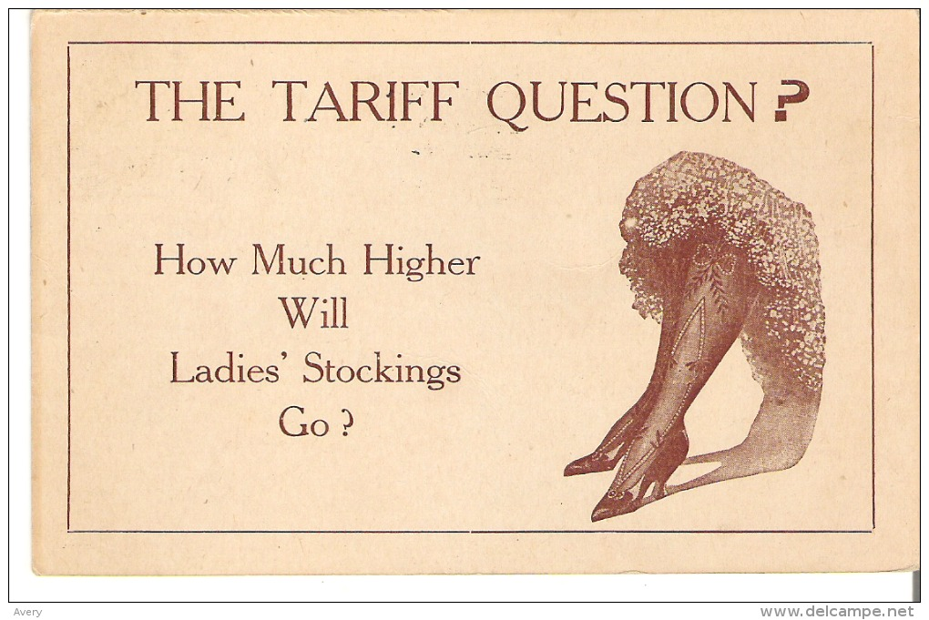 The Tariff Question? How Much Higher Will Ladies' Stockings Go? - Humour