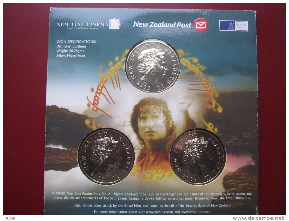 New Zealand 2003 LORD OF THE RINGS 3 X 1 Dollar UNC Coin Set Royal Mint Folder - New Zealand