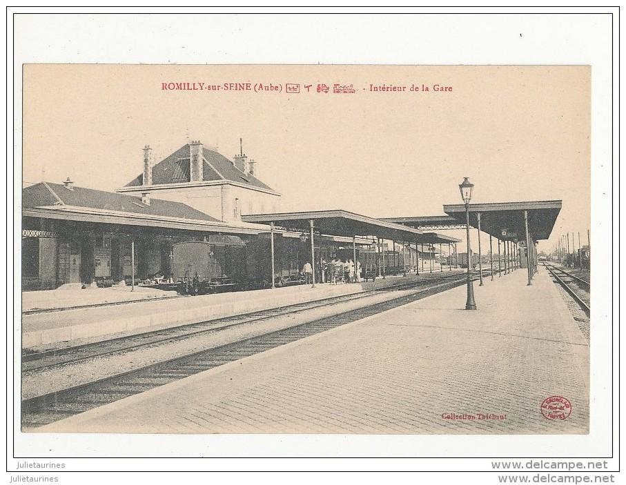 10 ROMILLY SUR SEINE INTERIEUR DE LA GARE CPA BON ETAT - Stations With Trains