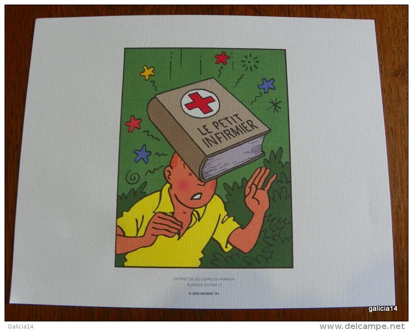LOT DE 3 EX-LIBRIS TINTIN ~ HERGE MOULINSART 2011 / LES CIGARES DU PHARAON - Ex-libris