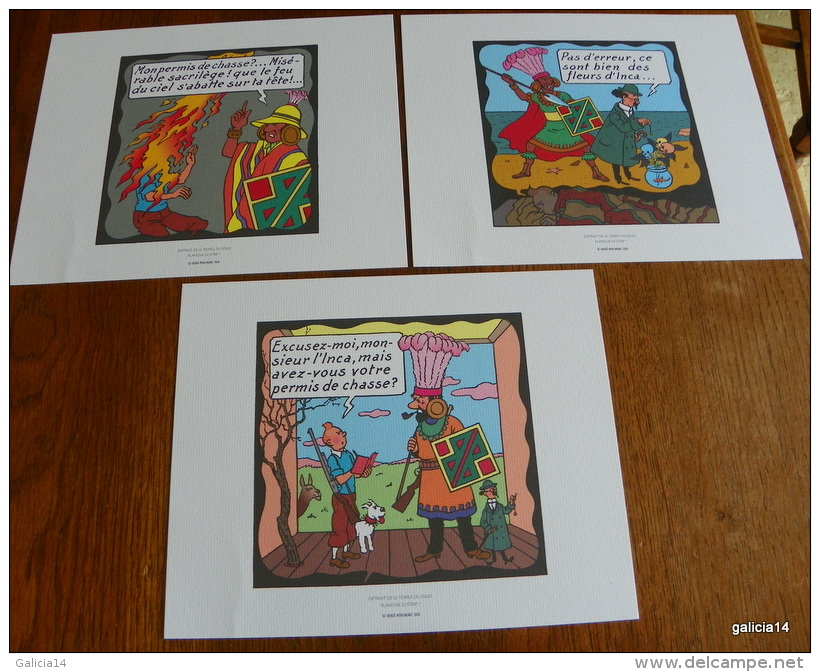 LOT DE 3 EX-LIBRIS TINTIN ~ HERGE MOULINSART 2010 / LE TEMPLE DU SOLEIL - Ex-libris
