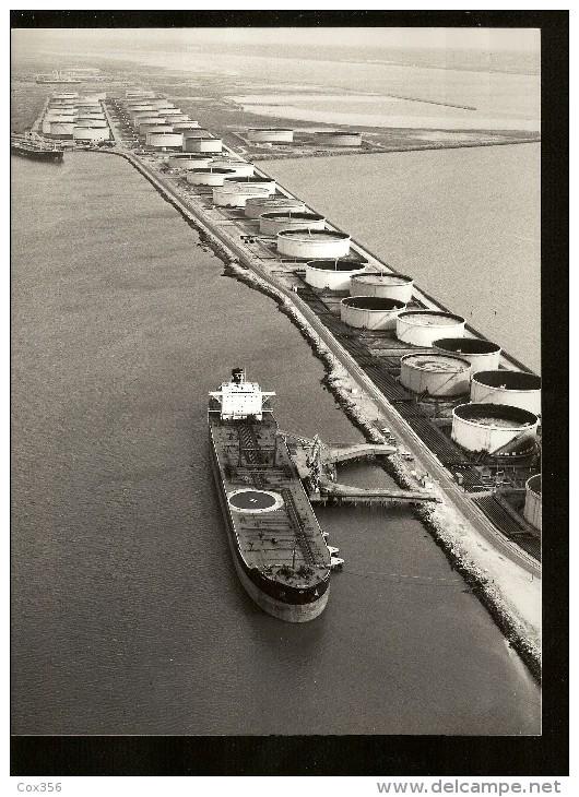 PHOTOGRAPHIE ARGENTIQUE Déchargement D'un Pétrolier A La C.I.M. Compagnie Industriel Maritime Du HAVRE - Bateaux