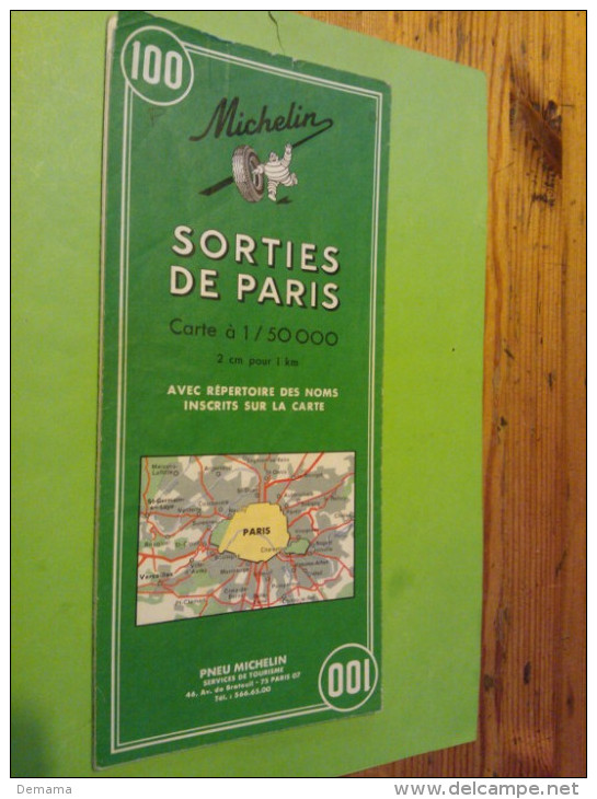 Sorties De Paris, N° 100, Michelin Carte à 1/50000 - Carte Stradali