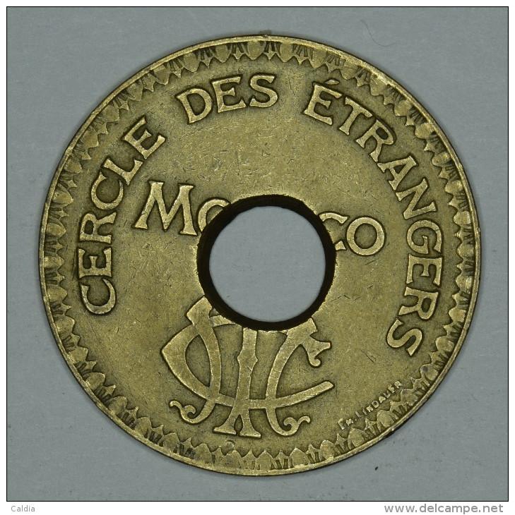 """Monaco Jeton Token 10 FRANCS Troué - ST DES BAINS DE MER - """""""" CERCLE Des ÉTRANGERS """""""" # 4 - Monaco"""
