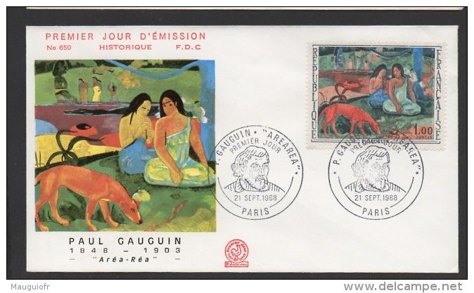 """DF / ARTS / PEINTURE / TABLEAUX DE GAUGUIN """"ARÉA-RÉA"""" SUR FDC DU TP DE FRANCE N° 1568 / PARIS 21 SEPTEMBRE 1968 - Arts"""