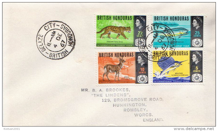 Postal History Cover: British Honduras Animals, Fishes Set On Cover - Unclassified