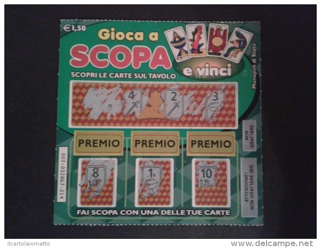 """GRATTA E VINCI NON VINCENTE GIA GRATTATO SERIE """"GIOCA A SCOPA """" - Lottery Tickets"""
