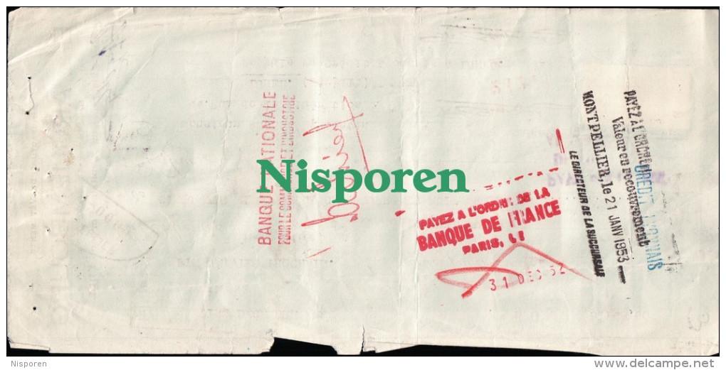 1952- Lettre De Change - Ets Arquembourg -rue Du Cptne Ferber Lille - Banque Nationale Pour Le Commerce Et L'industrie - Bills Of Exchange