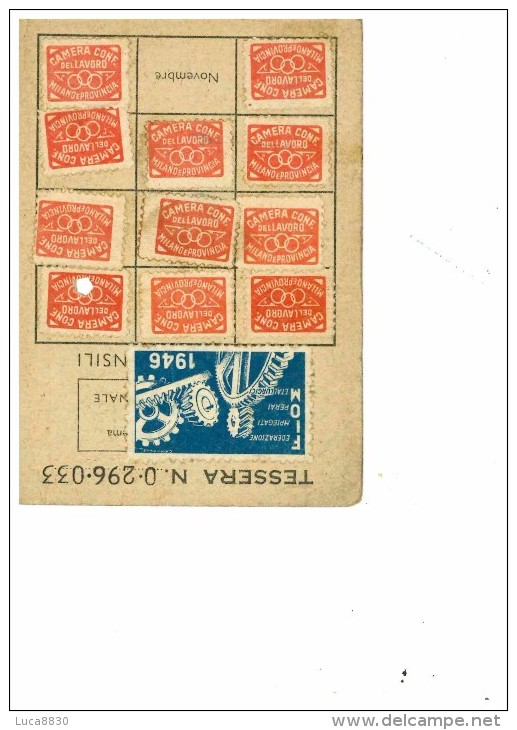 TESSERA SINDACATO CGIL 1946 - SINDACATI - Documenti Storici