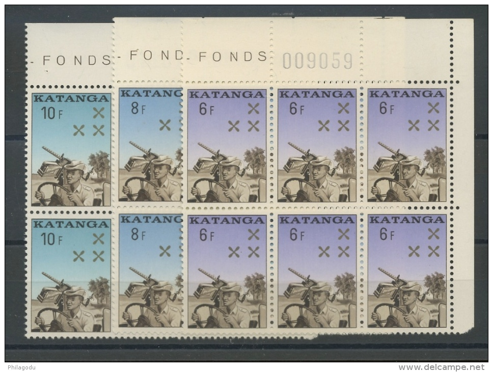 6 X La Gendarmerie Katangaise 1962  ** Cote 5,50 E X 6 = 33 Euros - Katanga