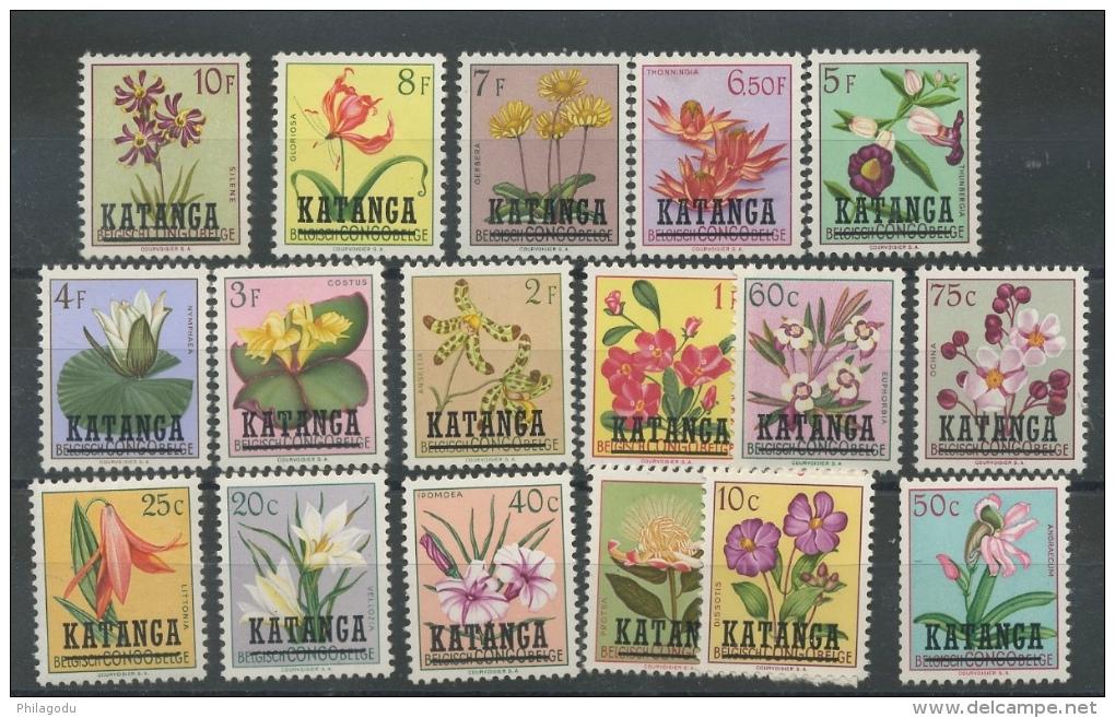 Fleurs Série De 17 Valeurs  Sept 1960  ** Cote 85 Euros - Katanga