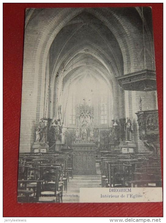 DIEGHEM  -  Intérieur De L´ Eglise -  1910     -  (2 Scans) - Machelen