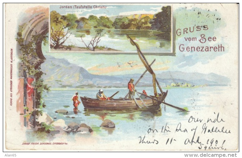 Gruss Vom See Genezareth Sea Of Galilee Israel, Jordan River, Ottoman Empire Era, C1890s/1900s Vintage Postcard - Israel