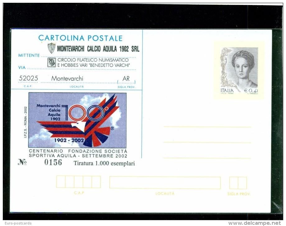 INTERO POSTALE-INTERI POSTALI I.P.Z.S.-C.P. IPZS-MONTEVARCHI-CALCIO-MOSTRA FILATELICA- - 6. 1946-.. Repubblica