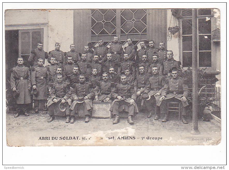 25051 AMIENS - ABRI DU SOLDAT 50 RUE GRESSET 3iem GROUPE-1912-13 -photo Hubault -Treganteur ! état ! Militaria Soldat  ! - Amiens