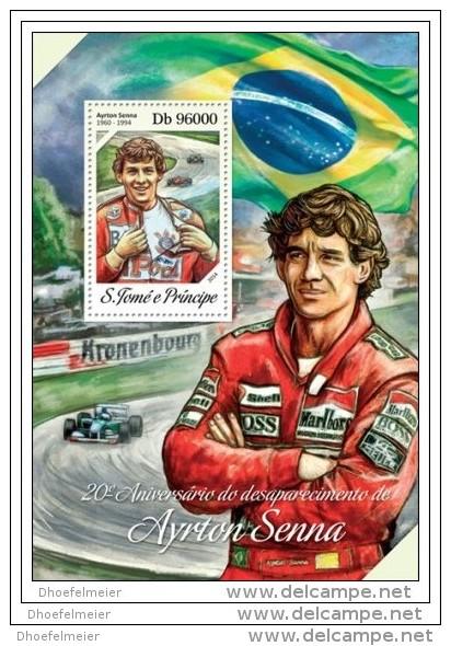 SAO TOME 2014 ** S/S Ayrton Senna Car Racing Formula 1 Autorennen Formel 1 F1 Flag Flagge Brasil A1429 - Cars