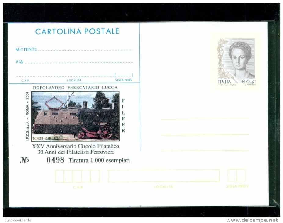 INTERO POSTALE-INTERI POSTALI I.P.Z.S.-C.P. IPZS-LUCCA- TRENI-FILFER- - 6. 1946-.. Repubblica
