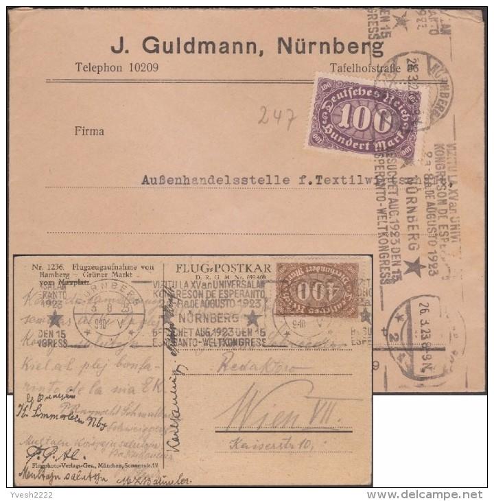 Allemagne 1923. Deux Flammes Différentes, Congrès D'Esperanto Août 1923 à Nüremberg. Inflation - Esperanto