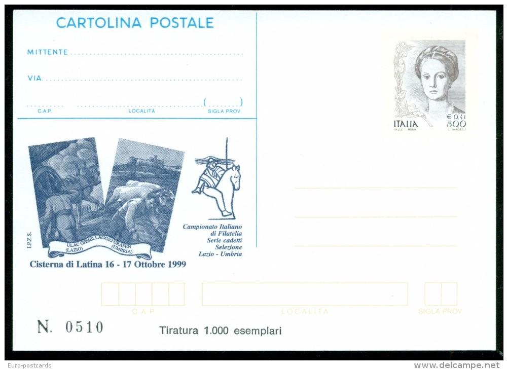 INTERO POSTALE-INTERI POSTALI I.P.Z.S.-C.P. IPZS-CISTERNA DI LATINA-ESPOSIZIONI - 1946-.. République