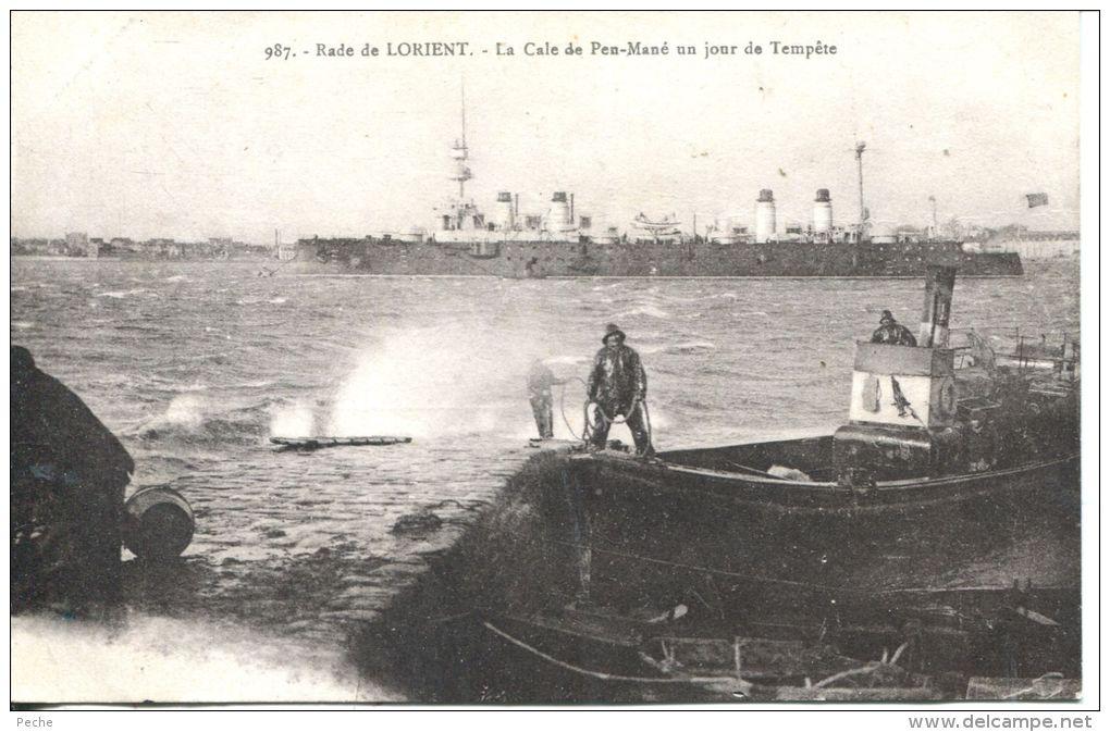 N°44724 -cpa Lorient -la Cale De Pen Mané Un Jour De Tempête- - Remorqueurs