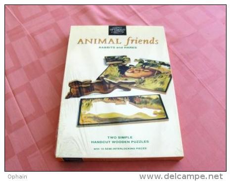 Boîte De 2 Puzzles Optimago En Bois - Neuve - Motifs: Lapins Et Lièvres  De Edwin Noble, Peintre Anglais Animalier) - 15 - Puzzles