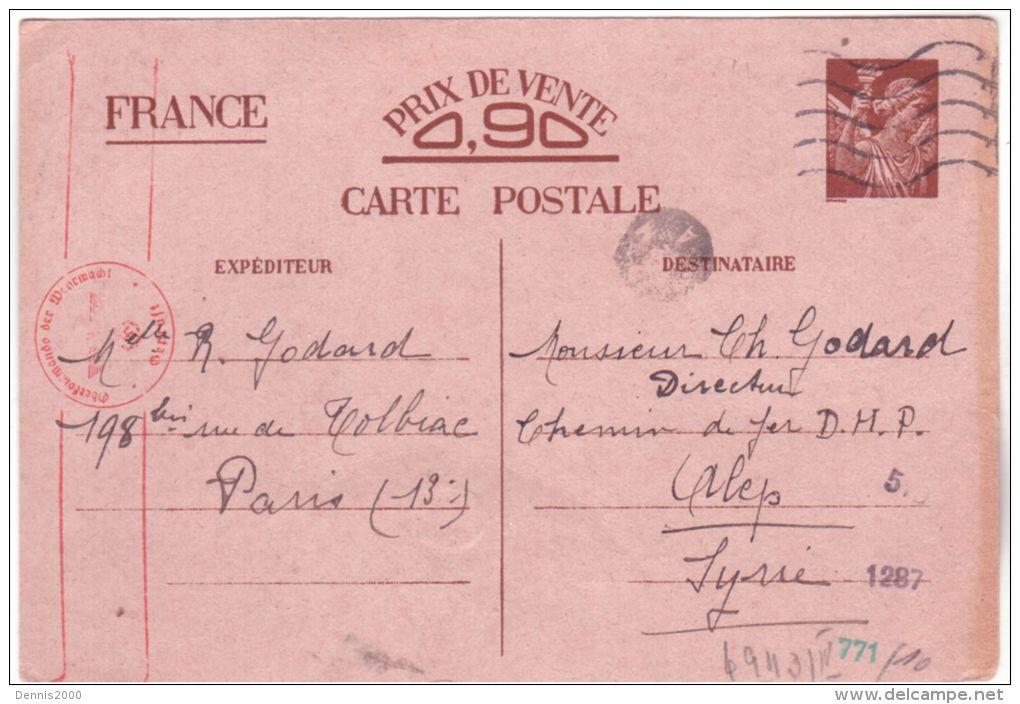 1941- C P E P Iris Sans Valeur Type Sign. Illis. De Paris Pour ALEP ( Syrie ) Censure Allemande - Marcophilie (Lettres)