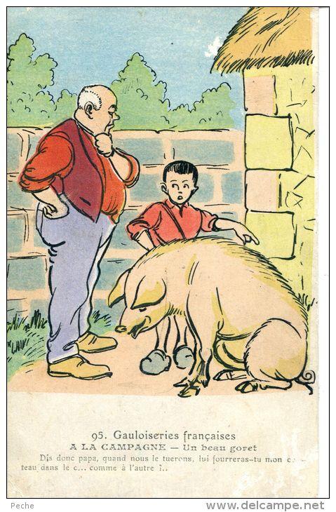 N°44758 -cpa Illustrateur -gauloiseries Françaises- - Cochons