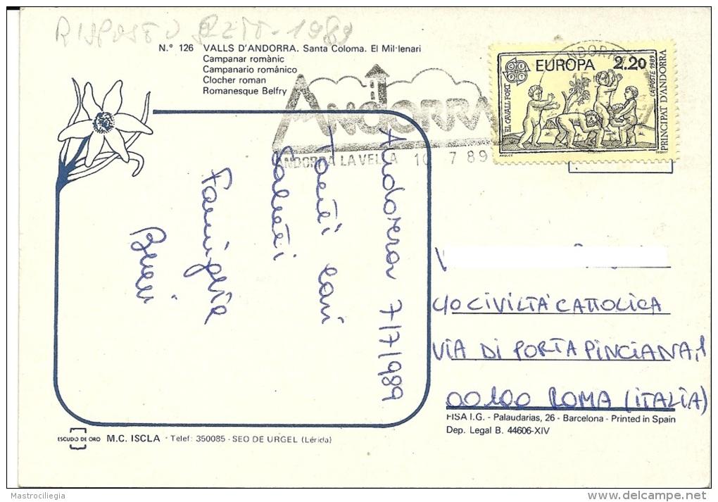 VALLS D´ANDORRA  PRINCIPAT D'ANDORRA  SANTA COLOMA  El Millenari Campanar Romànic  Nice Stamp  CEPT - Andorra