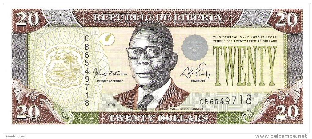Liberia - Pick 23a - 20 Dollars 1999 - Unc - Liberia