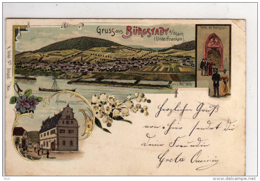 AK Bürgstadt Bei Großheubach, Miltenberg, Neunkirchen, Unterfranken --seltene Litho !!!! - Germania