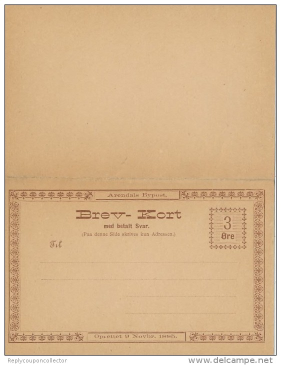 ARENDALS - Bypost  -  Brev-Kort , Privatpost - Reply Post Card - Ganzsachen